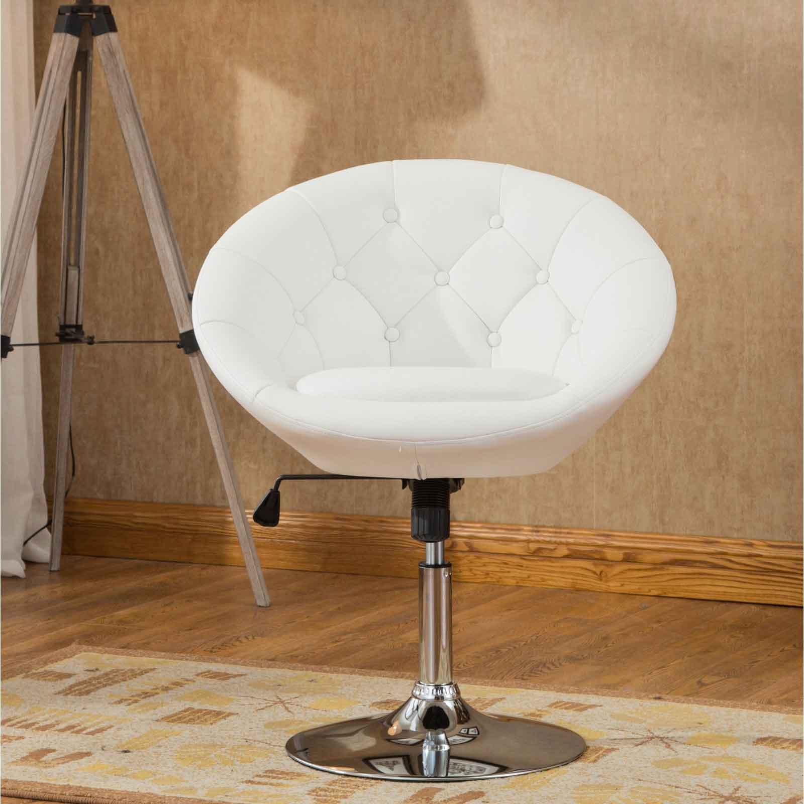White vanity stool swivel chair