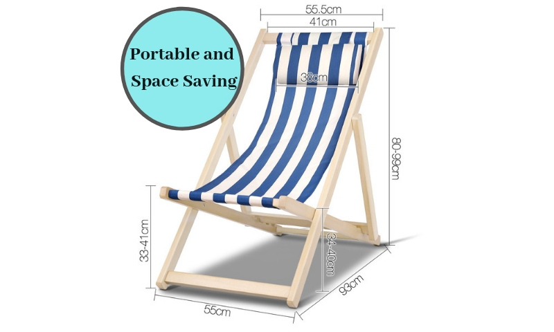 Admirable Details About Artiss Foldable Beach Outdoor Stripes Wood Fabric Folding Sling Chair Blue White Download Free Architecture Designs Rallybritishbridgeorg