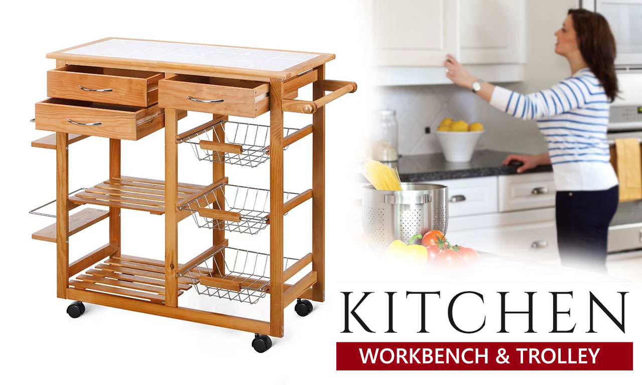 Kitchen Trolley Portable Cooking Workbench Island Bench