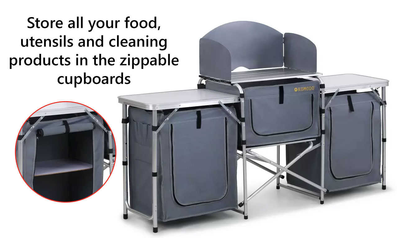New Portable Camping Kitchen Table Island Bench Folding