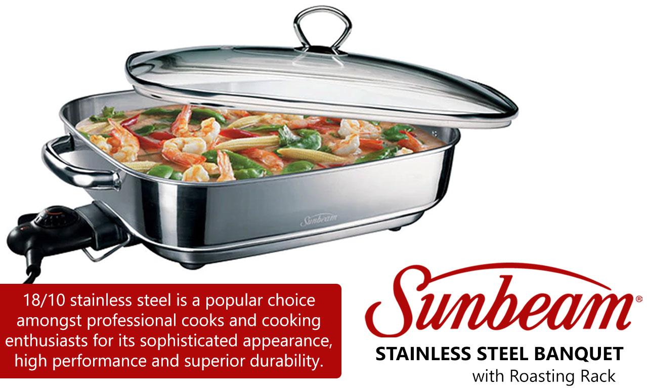 Sunbeam Banquet Frypan Stainless Steel Electric Fry Pan
