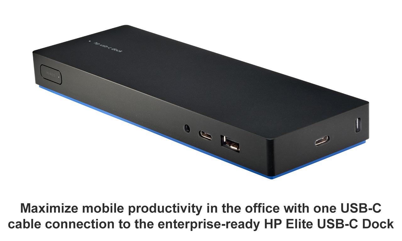 hp elite usb c desk dock laptop docking station rj 45 hdmi lan display port hubs ebay. Black Bedroom Furniture Sets. Home Design Ideas
