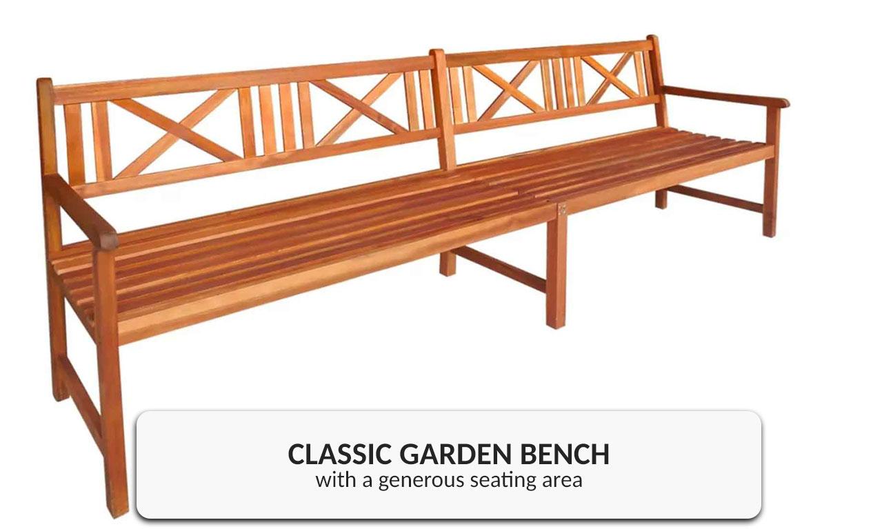 Wooden Outdoor Garden Bench Seat Solid Acacia Wood 4