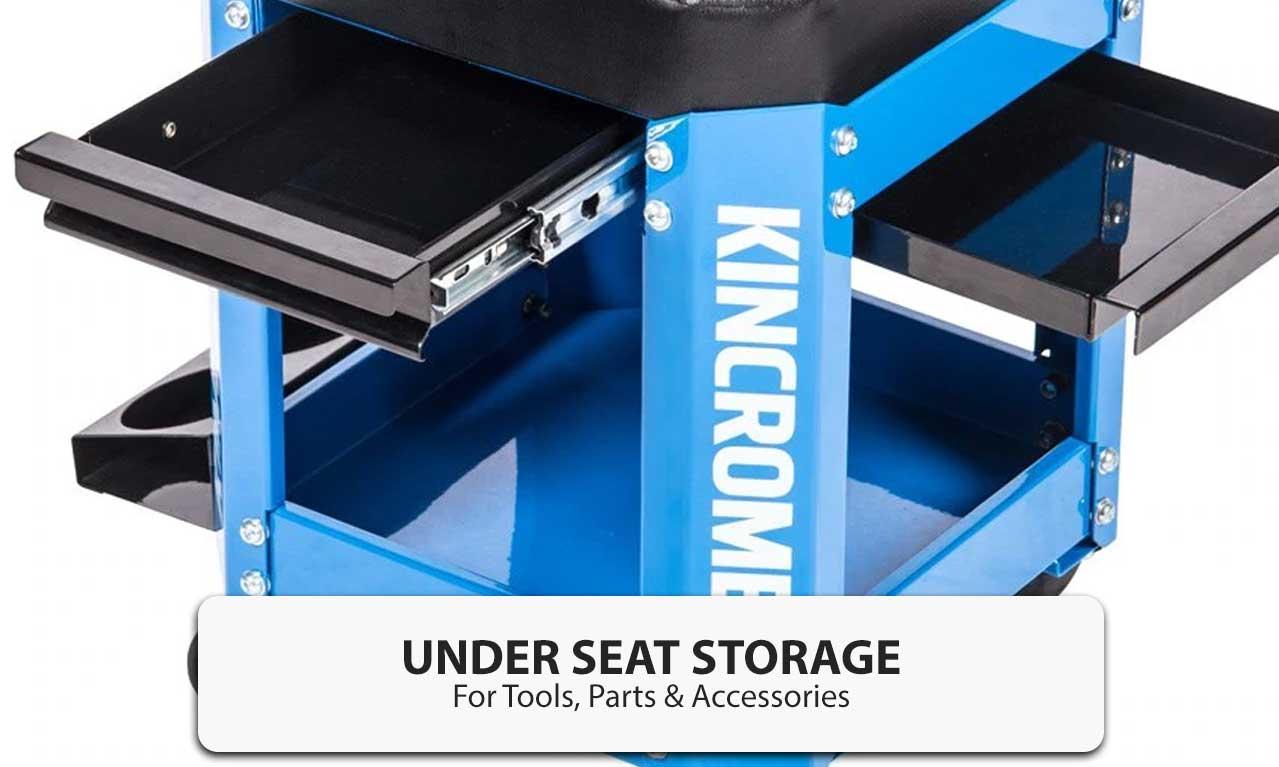 Kincrome 2 Drawer Workshop Creeper Stool Garage Mechanic